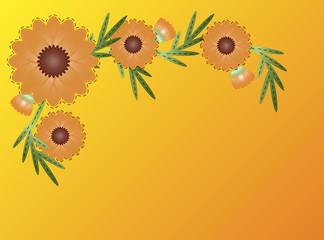 Vector Eps8 Zinnia Flower Border on Yellow Orange Copy Space
