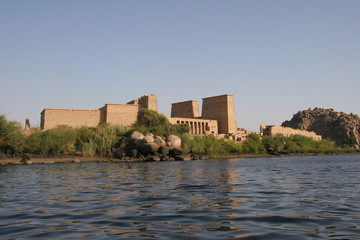 View of Egypt's Temple of Philae from the sea