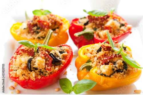 stuffed peppers with couscous, dried tomatoes,feta,