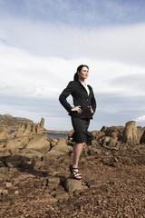 Businesswoman in the middle of nowhere