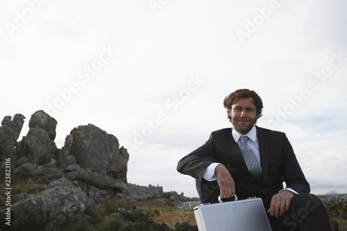 Businessman in the fields
