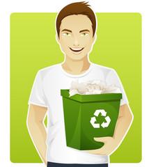 Eco-friendly man sorting a trash