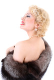 Blondie woman with fur collar dreaming. Marilyn Monroe imitation poster