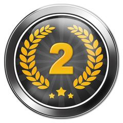 button zweiter platz, silber, nummer 2