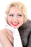 Young blondie woman dreaming. Marilyn Monroe imitation poster
