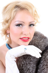 Blondie woman with fur collar. Marilyn Monroe imitation