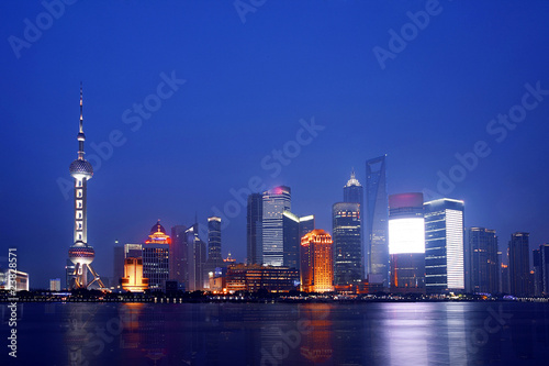 The beautiful night view of Shanghai,in  China