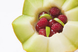 Zigzag melon with cherry and raspberry poster