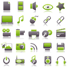 multimedia Green Icons