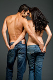 Sexy young multiracial couple in love poster