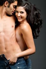 Sexy young multiracial couple