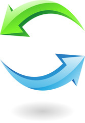 3d glossy refresh icon, green and blue arrows