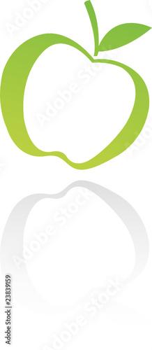 Line art green apple isolated on white
