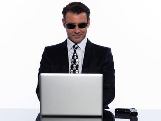 man caucasian hacker computer isolated studio on white backgroun
