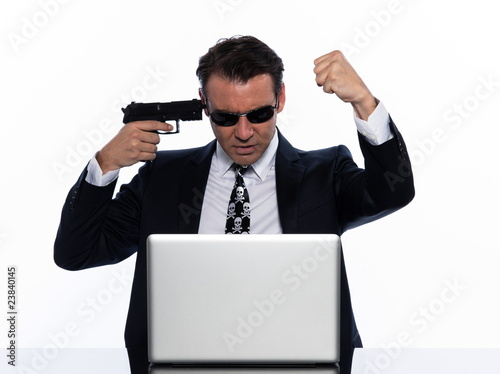 man caucasian hacker angry computer isolated studio