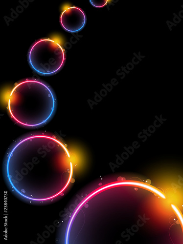 Rainbow Circle Background with Sparkles and Swirls.