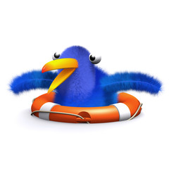 3d Blue bird needs rescuing