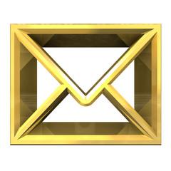 envelope email symbol in gold (3d)
