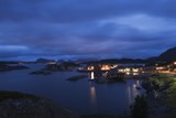 Fishing village on the Lofoten Islands, Norway, at night