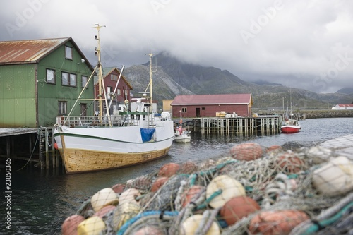 Fishing boat moored on the Lofoten Islands, Norway
