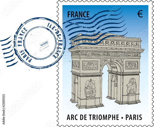 Postmark with sight of The Arc de Triomphe (Arch of Triumph)