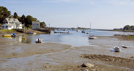 the tide on the coast in Maine, Usa