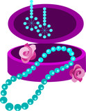 jewelery box with earring, necklace and  flowers poster