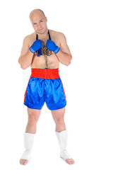 boxer with a skipping rope in his hands.