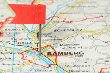 Bamberg on map, Germany