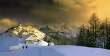 Village on top of mount Lussari in Friuli, Italy poster