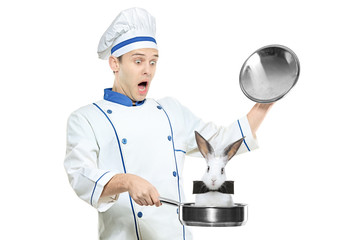 A surprised chef holding a frying pan with a rabbit in it