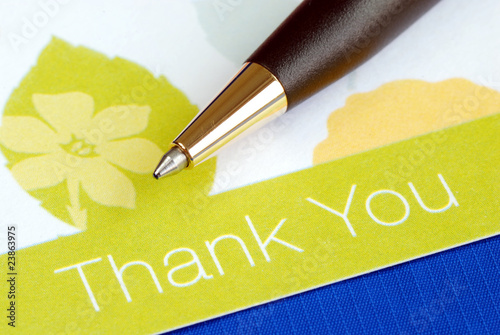 Write the thank you card isolated on blue