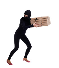 thief in black clothes and cap with boxes