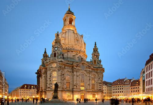 Leinwanddruck Bild Dresdner Frauenkirche am Abend