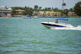 Blue and White Motor Boat poster