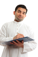 Ethnic businessman writing