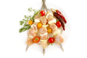 served chicken shish kebab