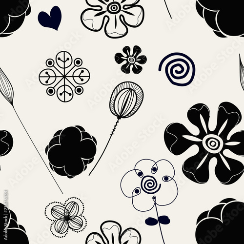 Floral seamless pattern in retro style © DouDou