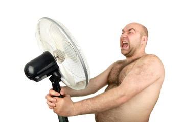 man with cooling fan , closeup, isolated background