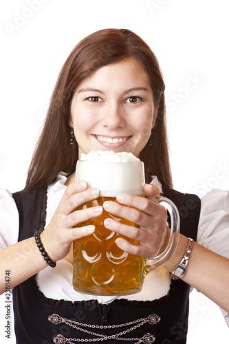 bayerische Frau im Dirndl mit Oktoberfest Maßkrug  - beer stein