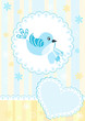 roleta: Baby arrival card. Blue bird.