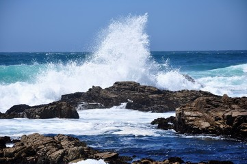 A big surf breaks on the rocks at 17 Mile Drive, Monterey