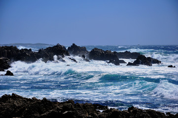 The surf strikes the rocks at 17 Mile Drive, Monterey