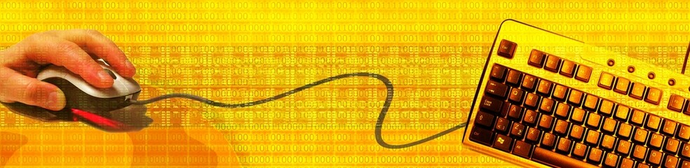 IT banner: yellow design with keyboard and mouse