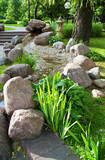 Fototapety Beautiful summer garden with plants and stones