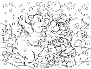 Hunter and polar bear