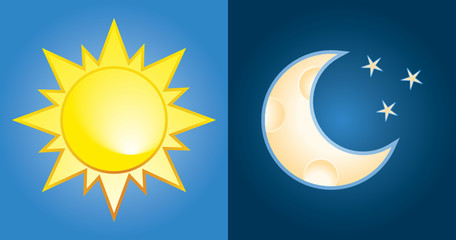 set of sun and moon, day and night