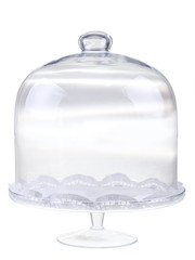 glass cake display stand and dome on white background
