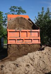 Unloading Sand Truck