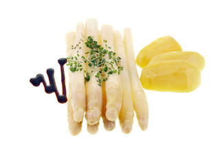 white asparagus with boiled potatoes and cress
